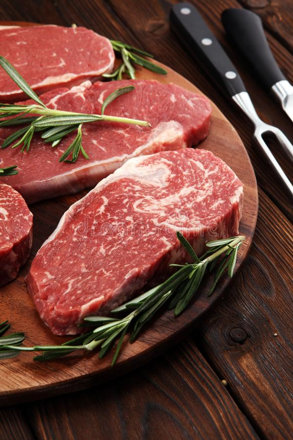 Steak raw. Barbecue Rib Eye Steak, dry Aged Wagyu Entrecote Steak. Steak raw. Barbecue Rib Eye Steak, dry Aged Wagyu Entrecote. Variety of Raw Black Angus Prime royalty free stock images