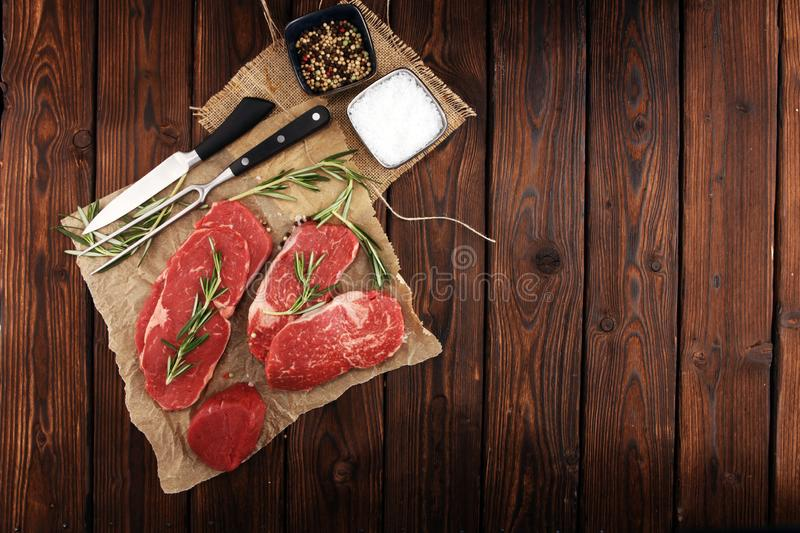 Steak raw. Barbecue Rib Eye Steak, dry Aged Wagyu Entrecote Steak. Steak raw. Barbecue Rib Eye Steak, dry Aged Wagyu Entrecote. Variety of Raw Black Angus Prime stock images