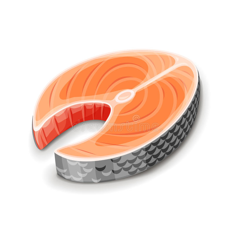 Steak of red fish salmon for sushi stock illustration