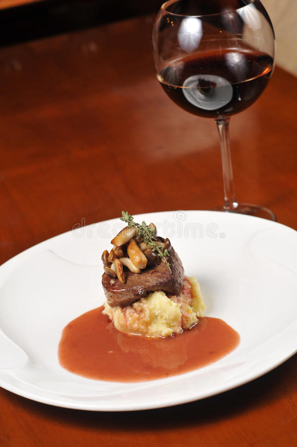 Steak and red wine royalty free stock image