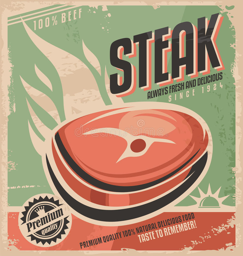 Steak Retro Poster Design Vintage Restaurant Menu Template Grilled Meat Ad Creative Concept Barbecue Fast Food Promotional Material