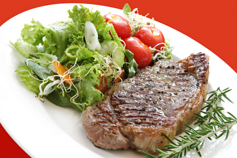 Download Steak and Salad stock photo. Image of cherry, marks, strip - 3954114