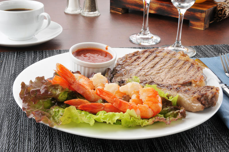 Steak and seafood stock images