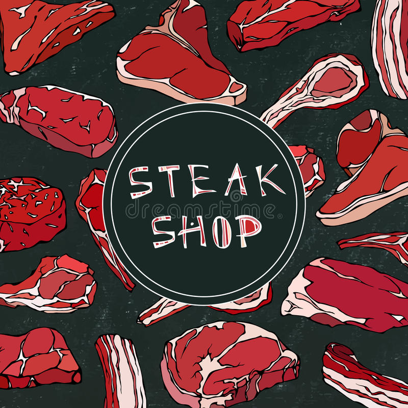Steak Shop Card with Meat Products.Restaurant Menu or Butcher Market Template. Beef Steak, Lamb, Pork Rib. Realistic royalty free illustration