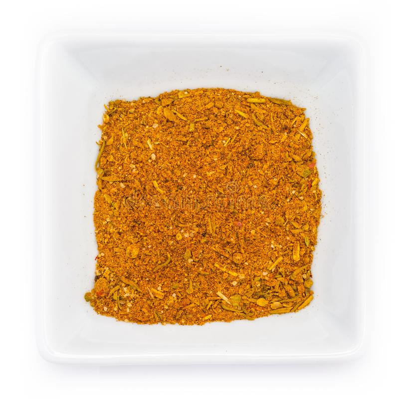 Steak spice mixture in white bowl stock images