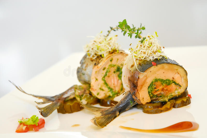 Steak tuna stuffed. With spinach stock images