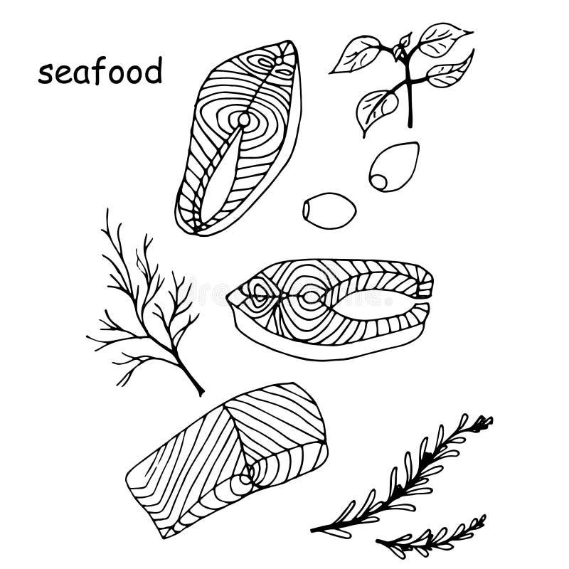 Steak von roten Fischlachsen, von Zitrone und von Rosmarin, Basilikum, Dill, Olivenkräuter für Meeresfrüchtemenü vektor abbildung