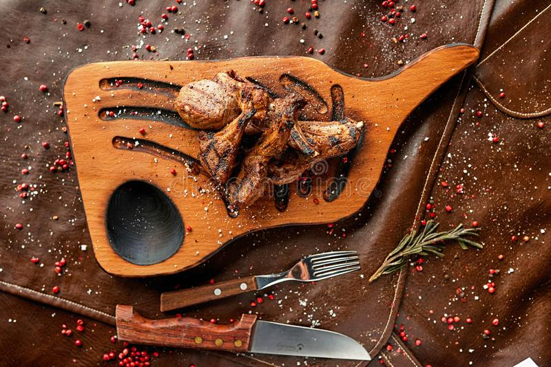 Steak on a wooden board royalty free stock photos