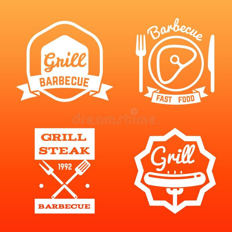 Steakhaus, Grillbar und Grillaufkleber lizenzfreie abbildung