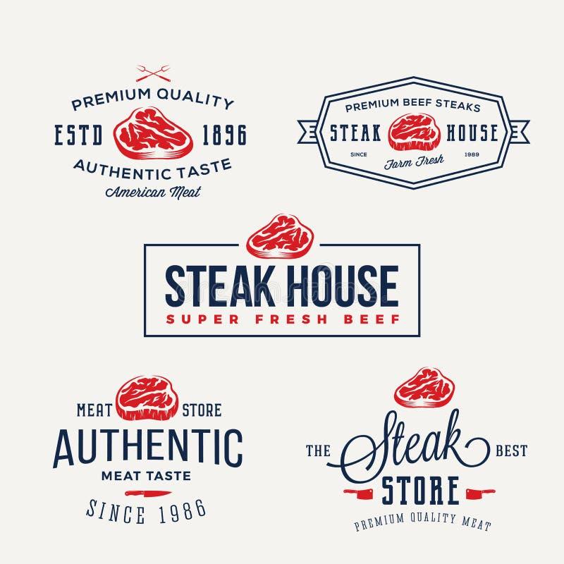 Steakhaus-oder Fleisch-Speicher-Weinlese-Typografie-Aufkleber, Embleme, Logo Templates Zeichen eingestellt stock abbildung