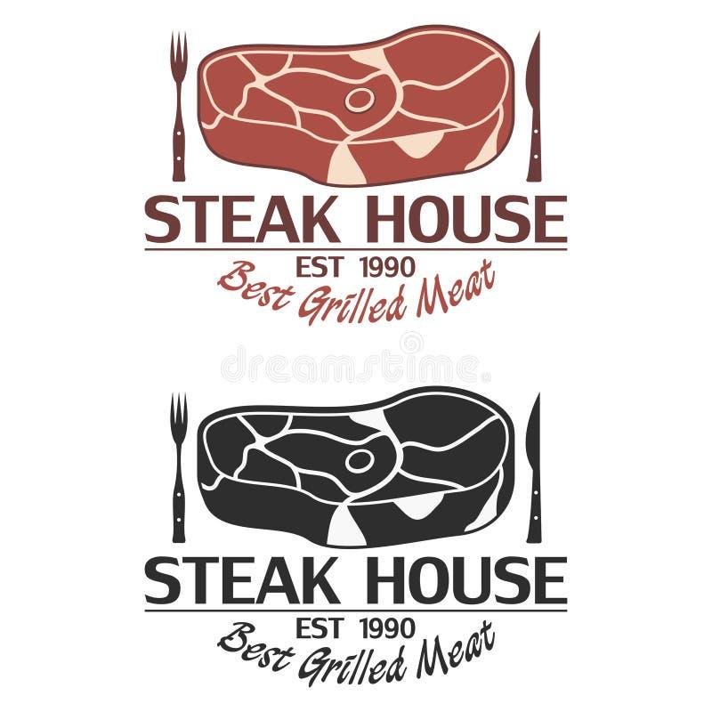Steakhauslogo mit Fleisch, Messer und Gabel Emblemschablone vektor abbildung