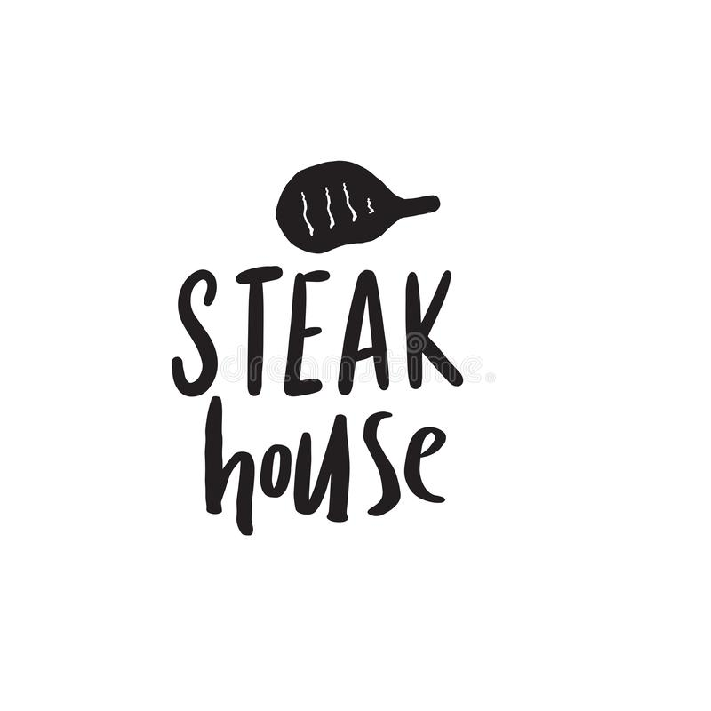 Steakhouse Αστείο συρμένο χέρι λογότυπο Απεικόνιση της μπριζόλας eps σχεδίου 10 ανασκόπησης διάνυσμα τεχνολογίας απεικόνιση αποθεμάτων