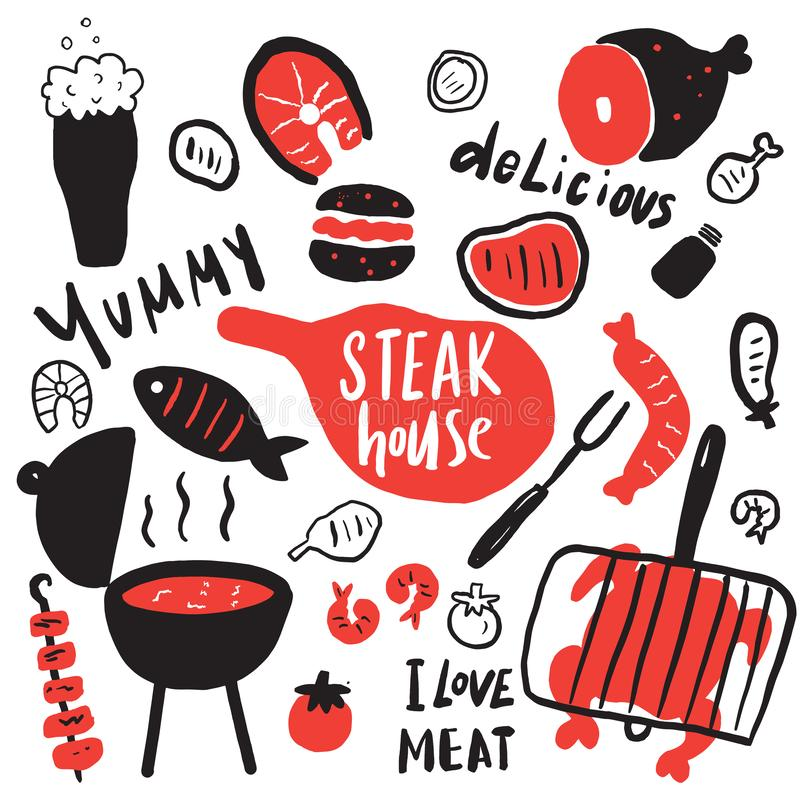 Steakhouse Elementi e frasi disegnati a mano divertenti circa alimento saporito Griglia, barbecue, concetto di progetto del risto illustrazione vettoriale