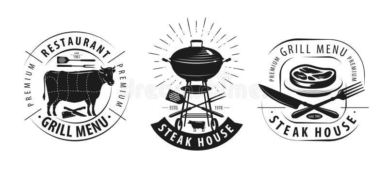 Steakhouse, grilla logo lub etykietka, Emblematy dla restauracyjnego menu projekta również zwrócić corel ilustracji wektora ilustracja wektor