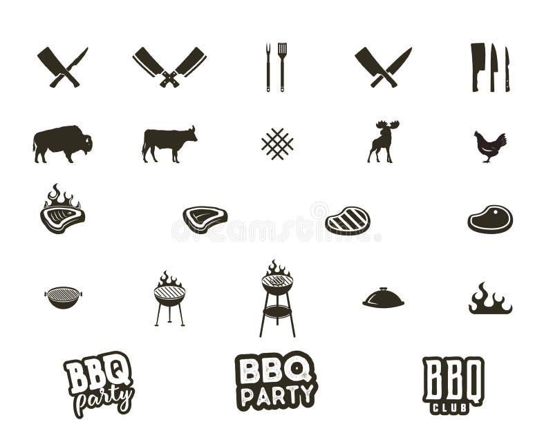 Steakhouse i grilla sylwetki textured ikony Czerń kształty odizolowywający na białym tle Zawierać grilla wyposażenie royalty ilustracja