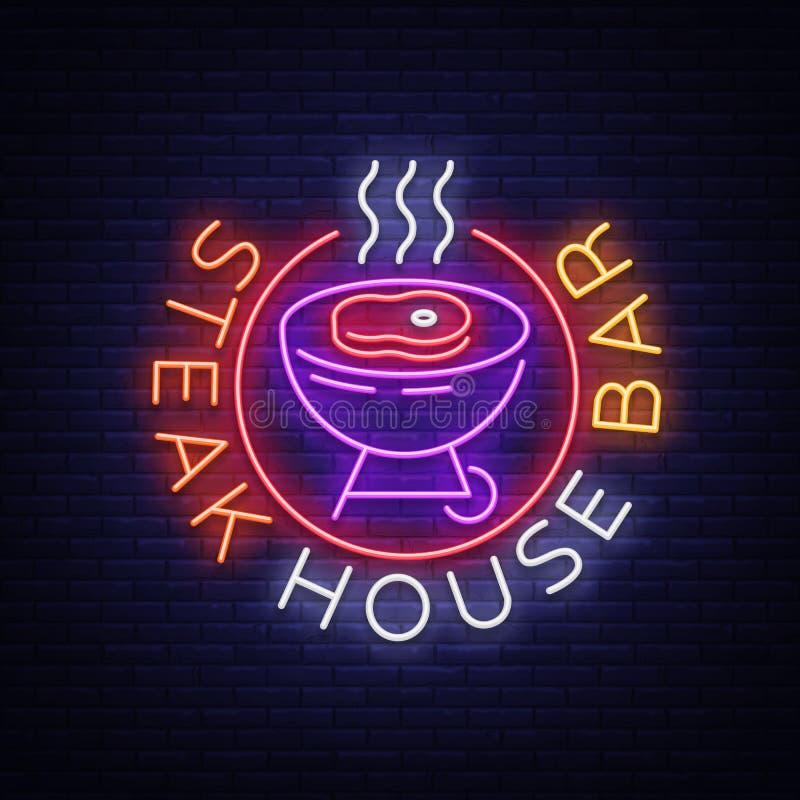 Steakhouse loga wektor Neonowy znak, symbol, jaskrawy reklamowy noc grill, grill, pieczony mięso, grilla bar, restauracja ilustracji
