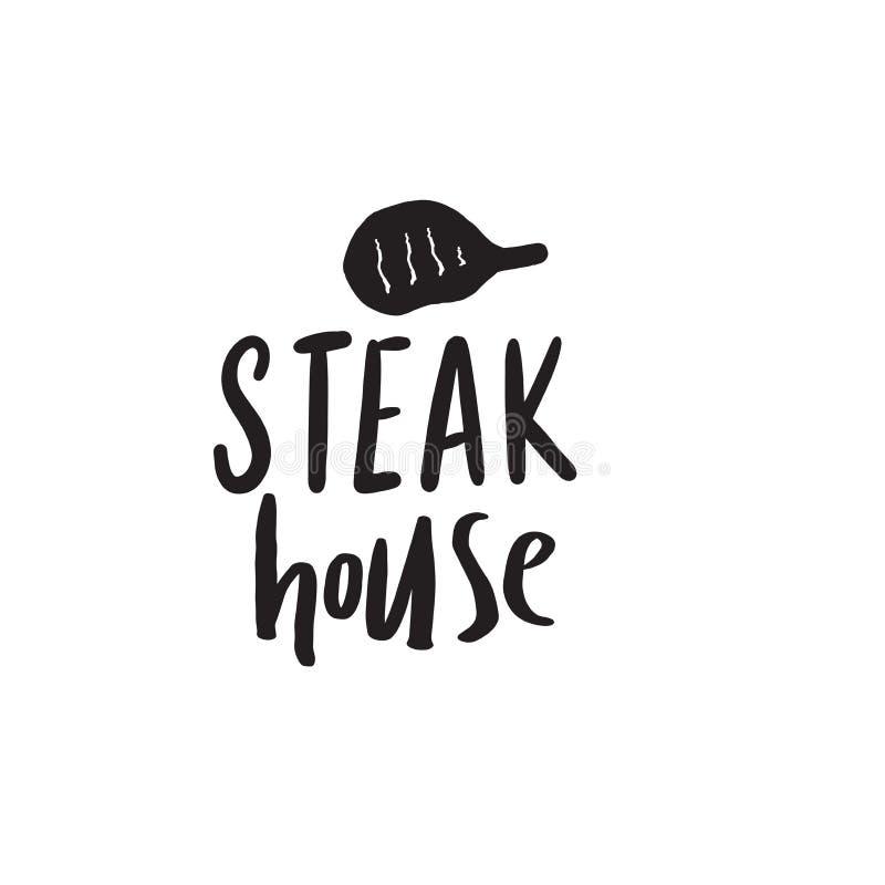 Steakhouse Logo disegnato a mano divertente Illustrazione di bistecca Disegno di vettore illustrazione di stock