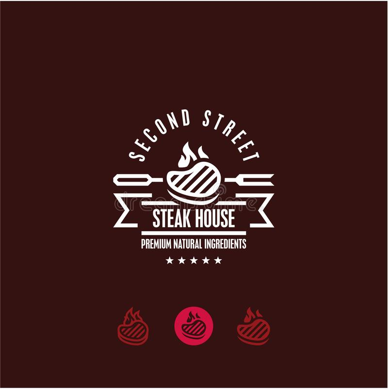 Steakhouse logo, stek, bbq, grilla menu royalty ilustracja