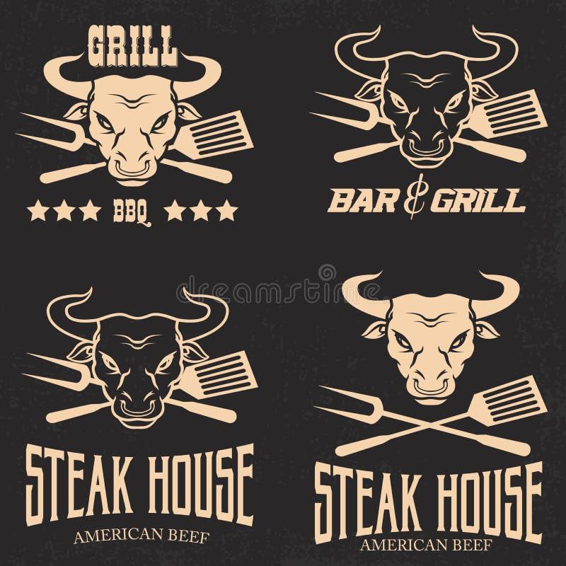 Steakhouse menu projekta restauracyjni elementy royalty ilustracja
