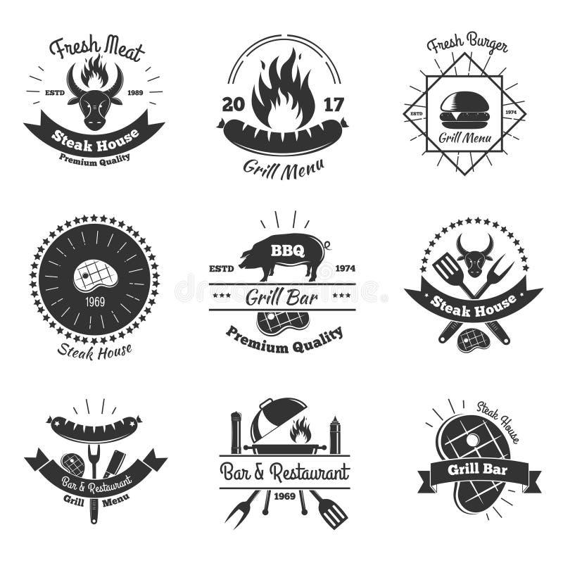 Steakhouse rocznika emblematy Ustawiający ilustracja wektor
