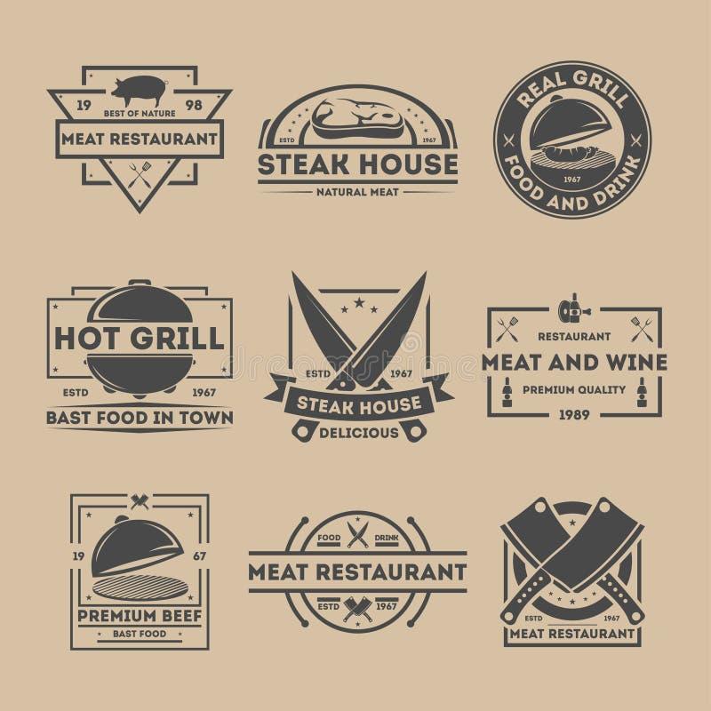 Steakhouse rocznika etykietki set royalty ilustracja