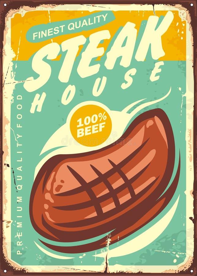 Steakhouse rocznika znaka projekt royalty ilustracja