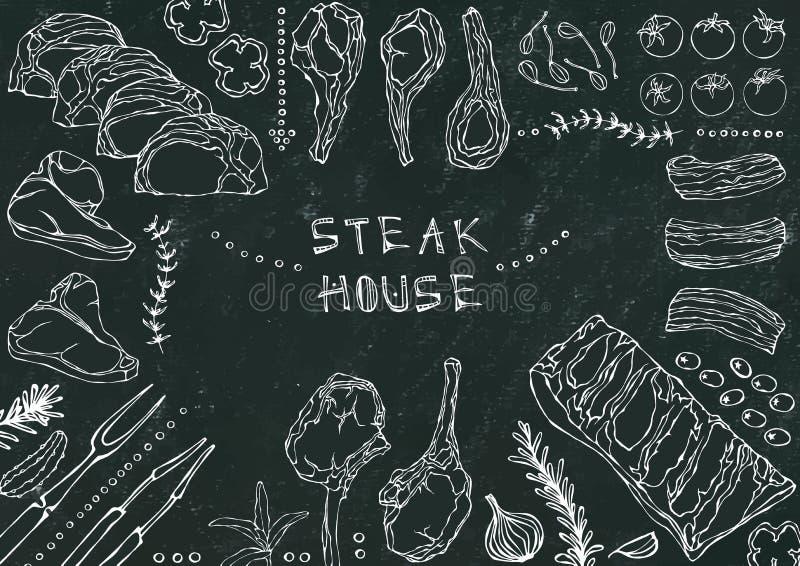 Steakhouse Vleesbesnoeiingen - Rundvlees, Varkensvlees, Lam, Lapje vlees, Achterdeel Zonder botten, Ribbenbraadstuk, Lendestuk en royalty-vrije illustratie