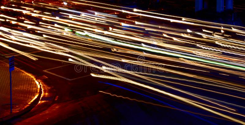 Steaking Lights w/ Roadsign stock photo