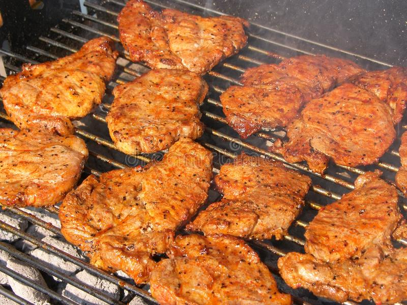 Download Steaks on a grill stock image. Image of grate, calorie - 10667511
