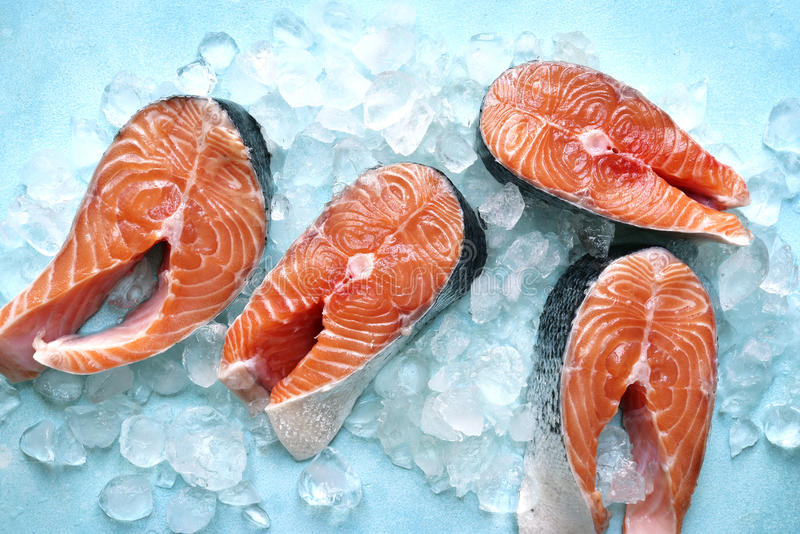 Steaks of raw salmon on ice .Top view with space for text. stock image