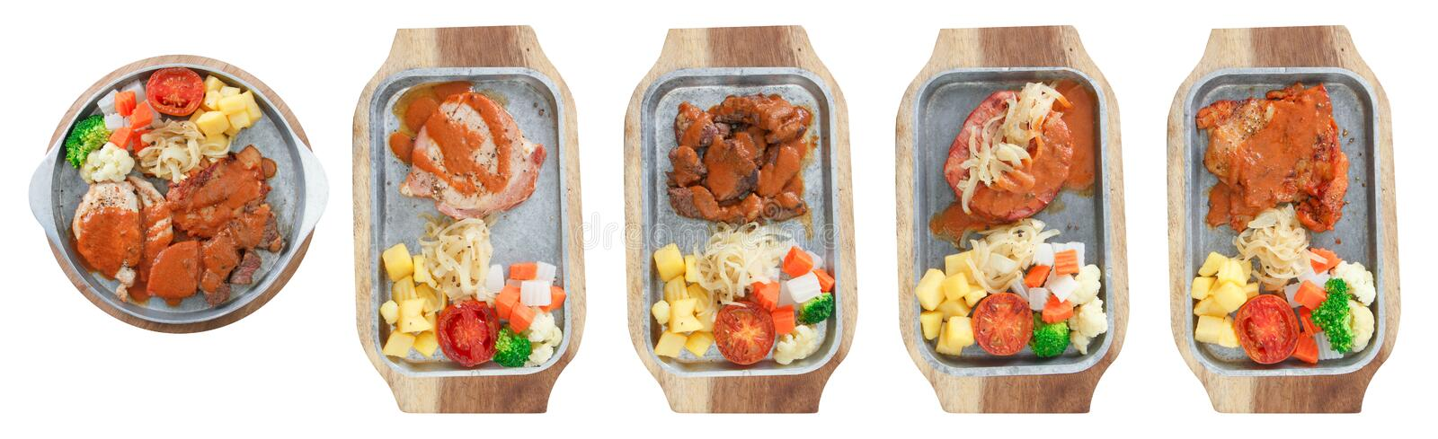 Steaks set on wood plate with isolated photo style. 5 Steaks set on wood plate with isolated photo styles food and isolated royalty free stock photography