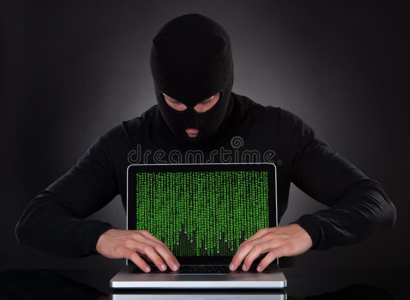 Stealing στοιχεία χάκερ ενός φορητού προσωπικού υπολογιστή στοκ φωτογραφίες