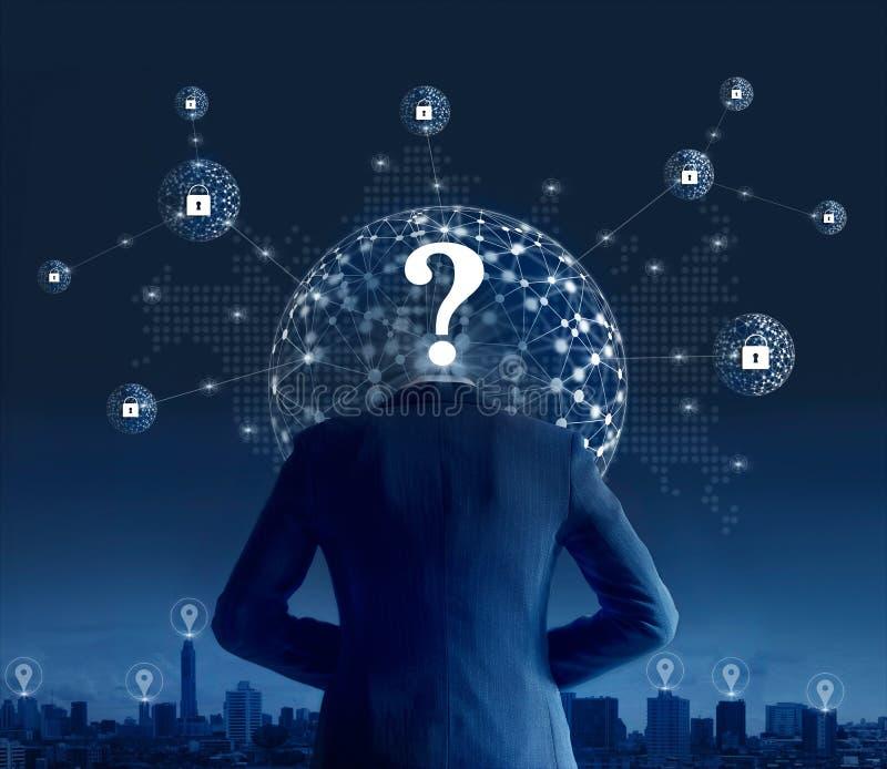 Stealing gegevens van de zakenmanhakker van netwerkverbinding in globale mededeling stock afbeelding