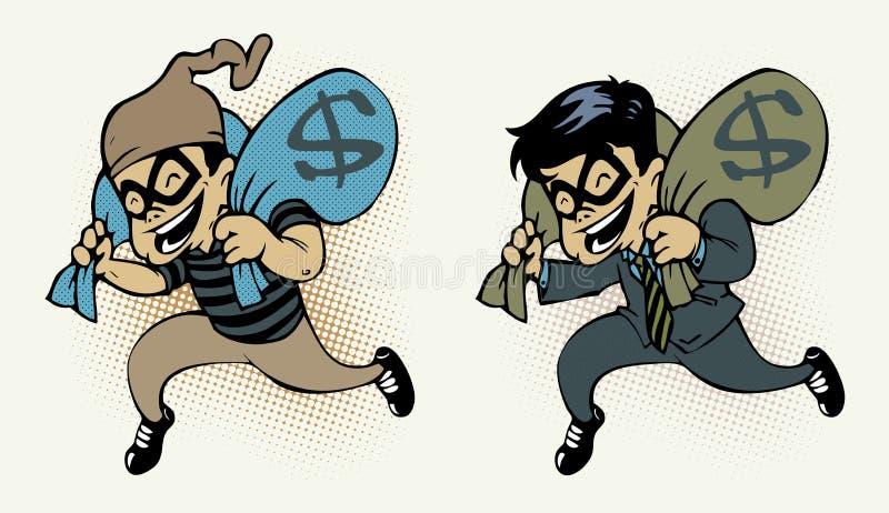 Stealing geld van de dief vector illustratie