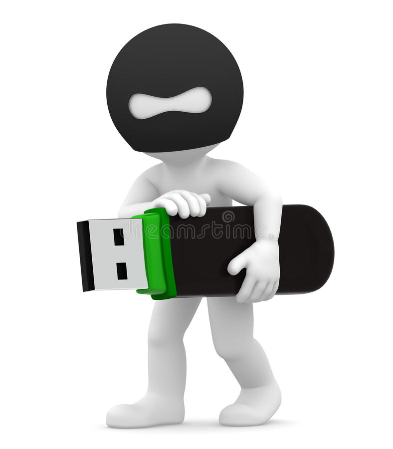 Stealing Informatie. De misdaadconcept van de computer stock illustratie