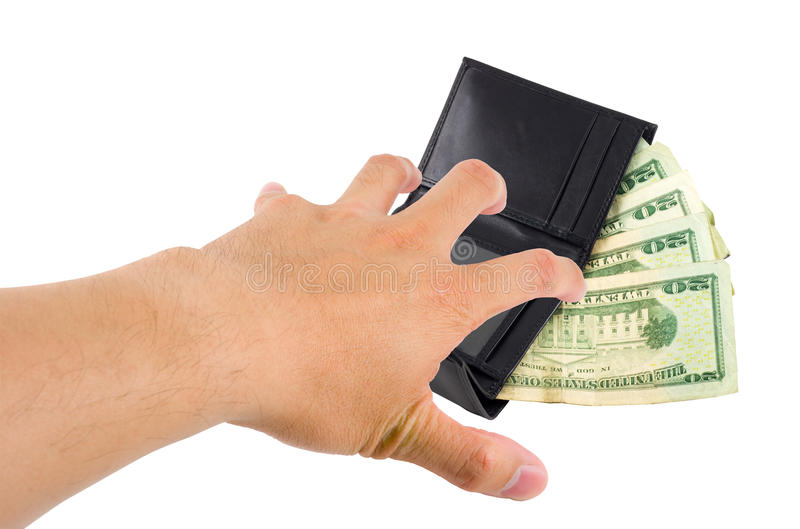 Stealing Money. A hand stealing money from a wallet on white with clipping path royalty free stock photos