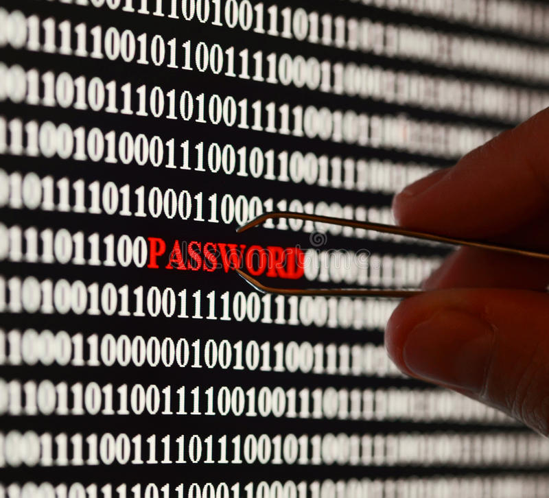 Stealing password. Computer screen shot with binary code and password text, great concept for computer, technology and online security royalty free stock photo