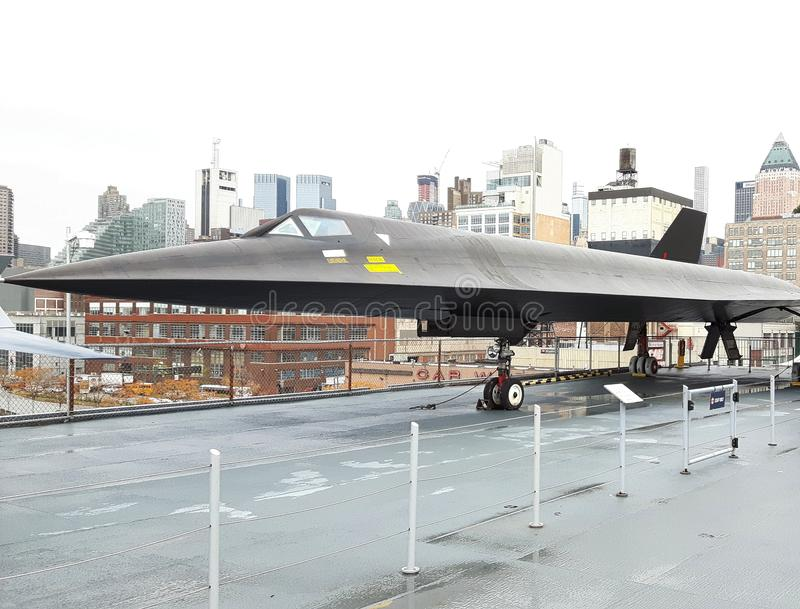 a stealth bomber in a museum royalty free stock photo
