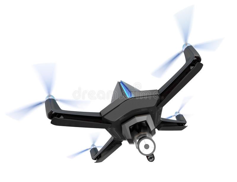 Stealth drone equip with search light on white background. 3D rendering image royalty free illustration