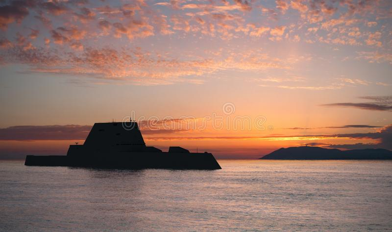 Modern Sea Destroyer stock image