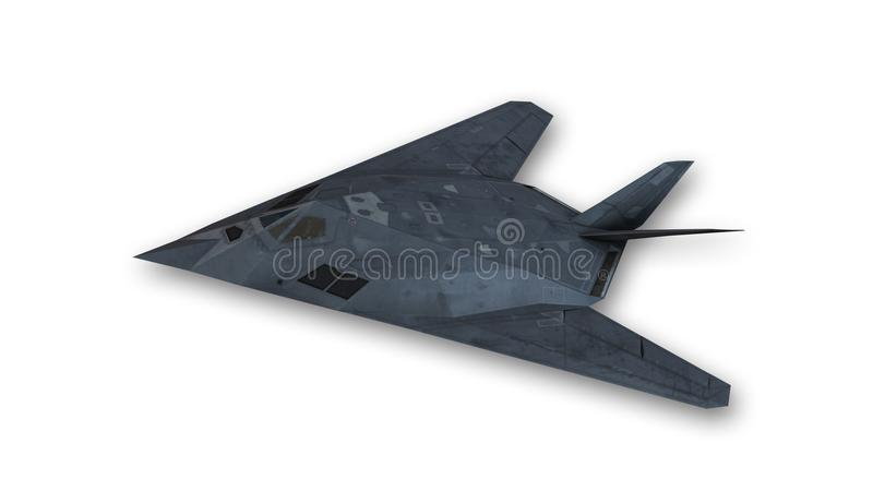 Stealthflygplan i flykten, hyvlar isolerat på vit bakgrund royaltyfri illustrationer