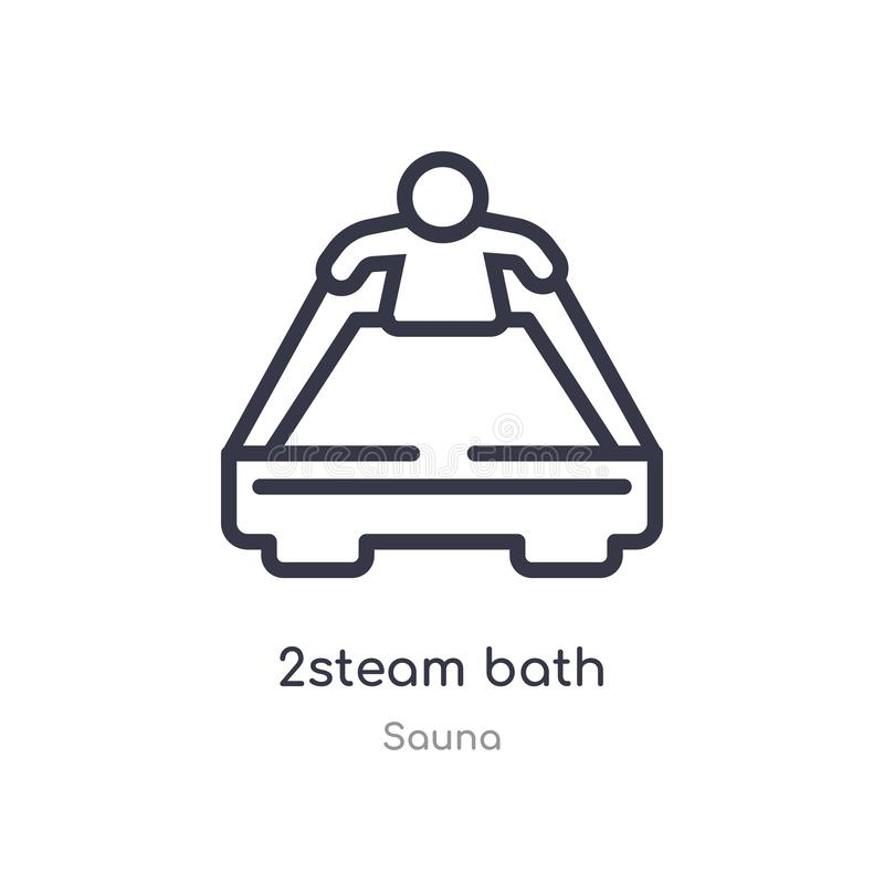 2steam bath outline icon. isolated line vector illustration from sauna collection. editable thin stroke 2steam bath icon on white stock illustration