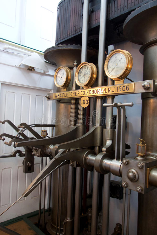 Boat Engine Room: Steam Boat Engine Control Room Editorial Image