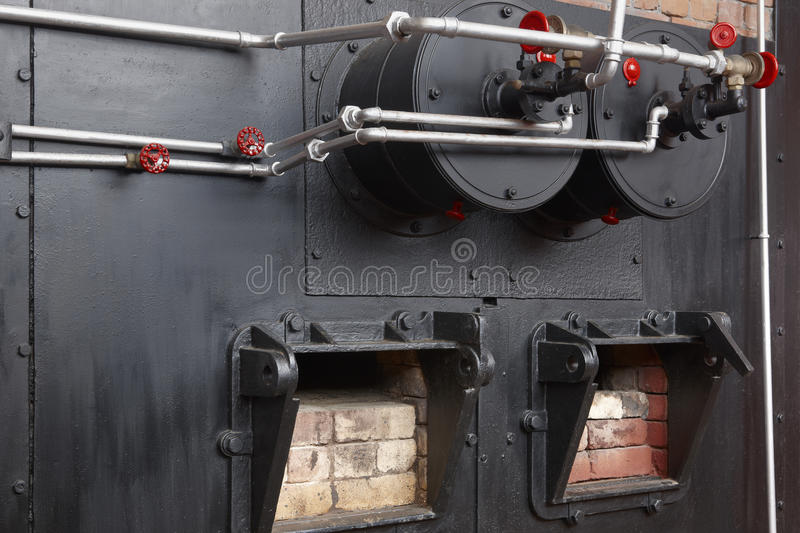 Steam boiler on an old whale oil factory. Azores, Portugal. Horizontal royalty free stock photo