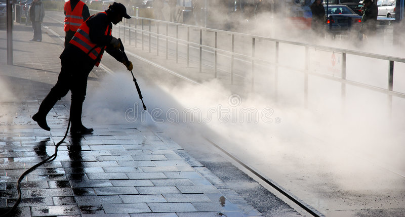 Steam cleaning stock photo