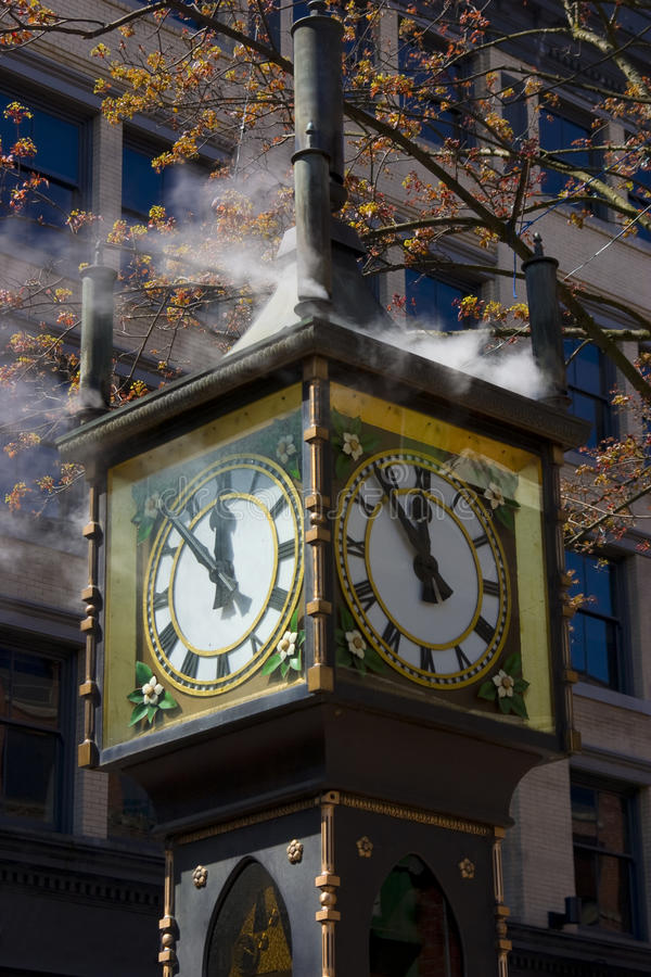 Steam Clock. Top of a historic steam clock located in tourist section of Gastown Vancouver BC stock images