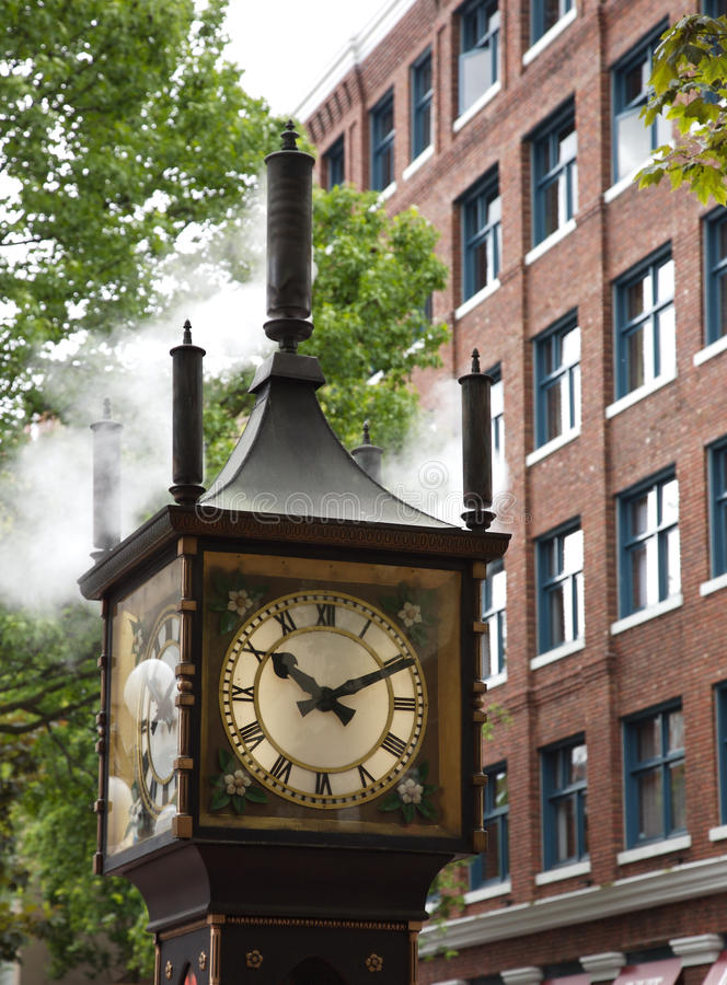 Steam clock. View of the steam clock in gastown, vancouver, canada royalty free stock images