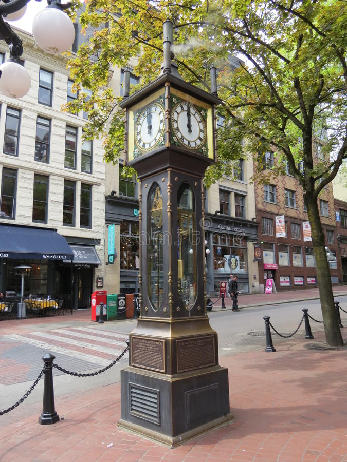 Steam Clock. The Steam Clock is, as its name suggests, powered by steam. It is located in Gastown, a suberb of Vancouver, Canada and is a big tourist attracton stock images