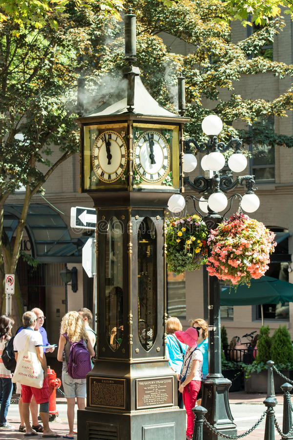 Steam Clock. Gastown area, Vancouver, August 2014 stock image
