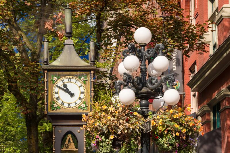Steam Clock in Gastown District, Vancouver. Vancouver, British Columbia, Canada - 13 September 2017: Steam Clock in Gastown District stock photos